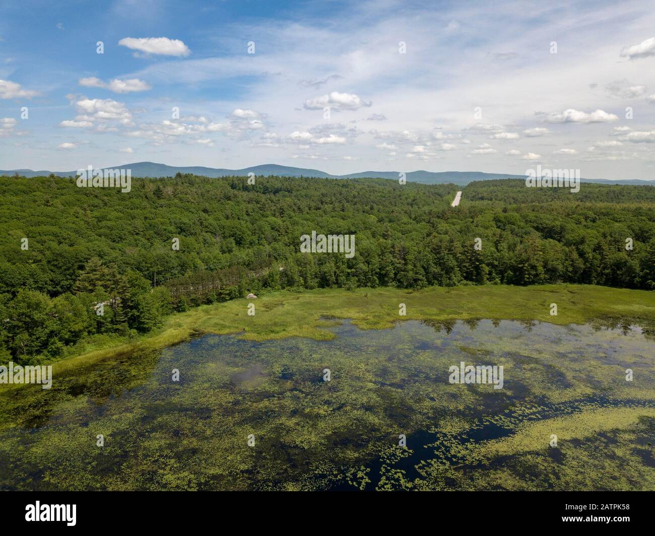 Aerial view of Mud Pond, Dublin, New Hampshire, USA Stock Photo