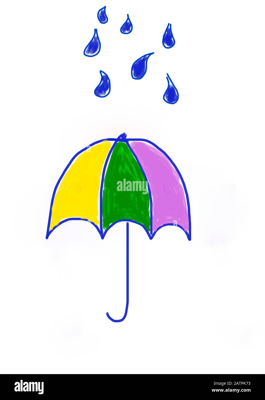 Naive illustration, children's drawing, umbrella with water drops, Germany Stock Photo