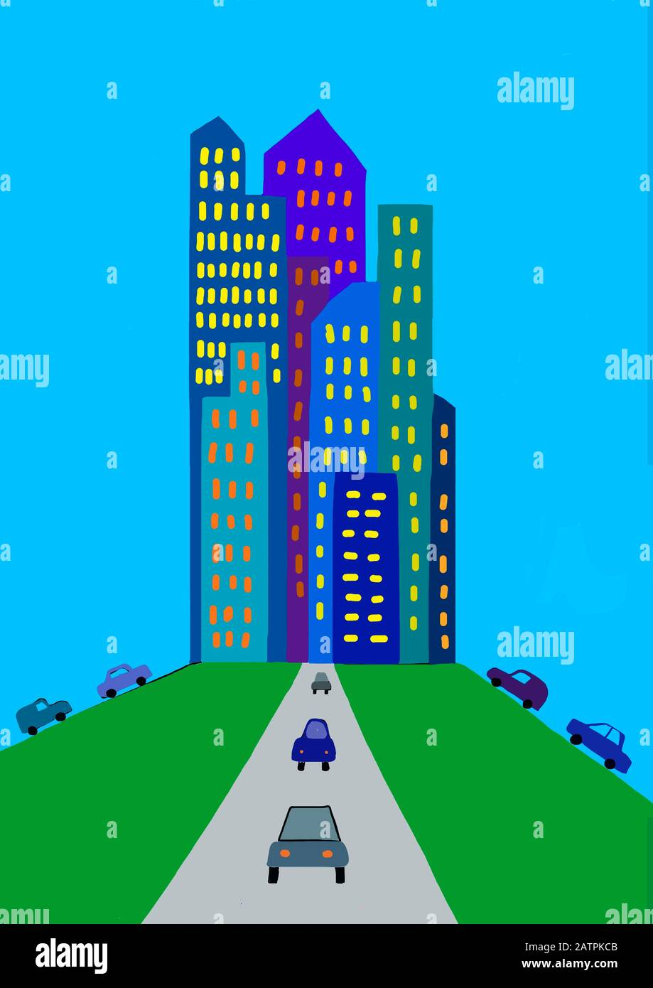 Naive illustration, children's drawing, car traffic in the big city, Germany Stock Photo
