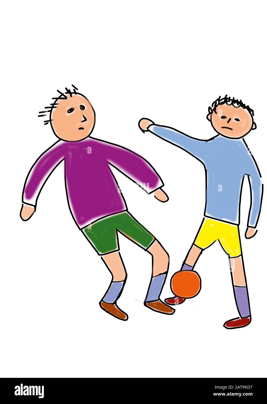 Naive illustration, children's drawing, children playing soccer, goalie, Germany Stock Photo