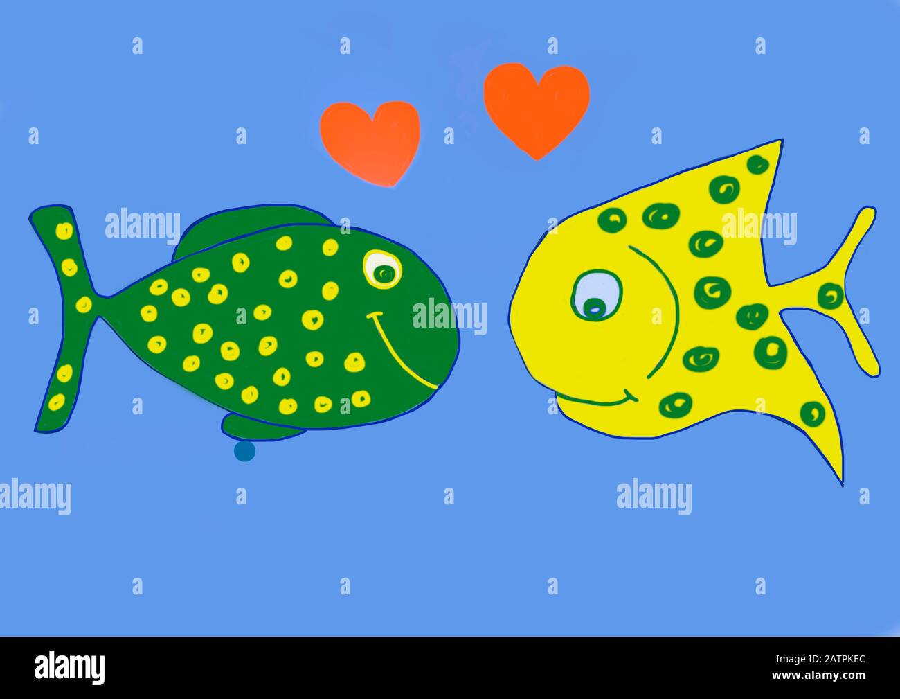 Naive illustration, children's drawing, two colourful fishes in love, Germany Stock Photo