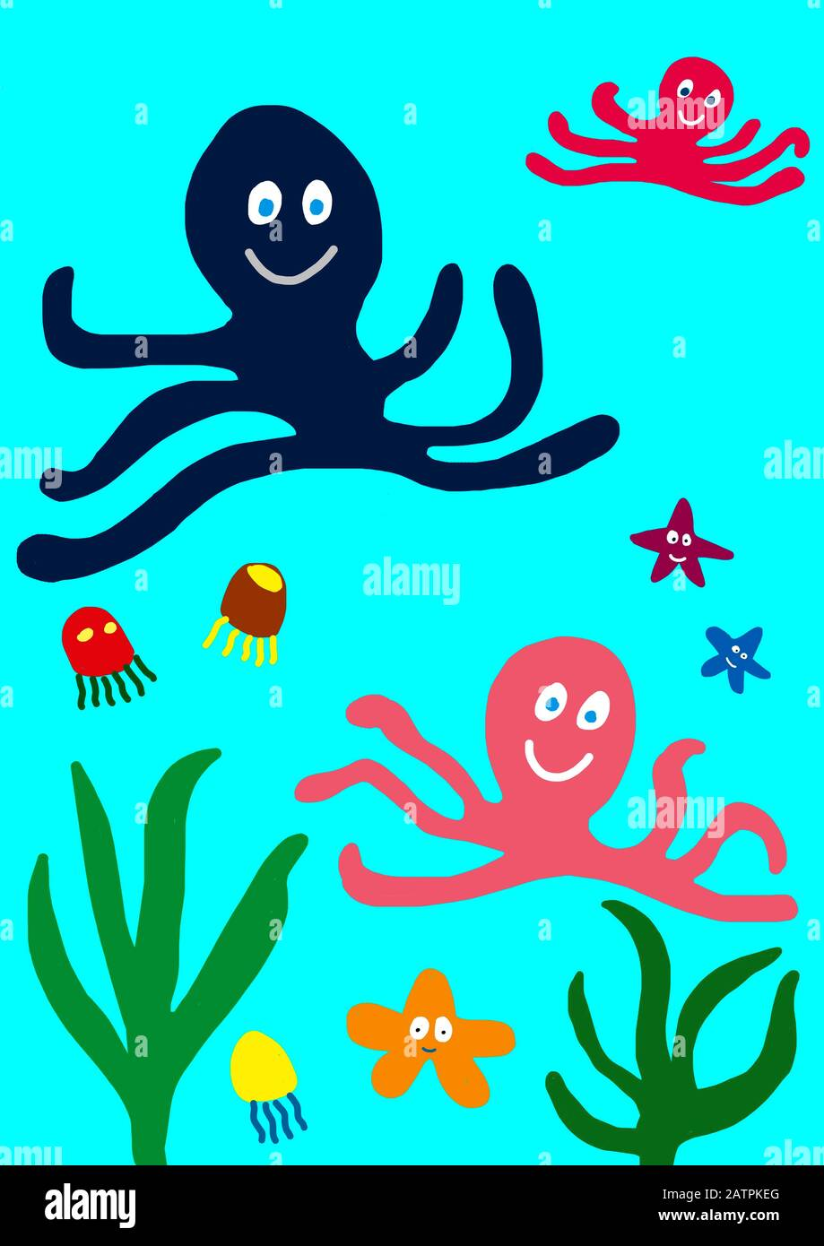 Naive illustration, children's drawing, squids, Germany Stock Photo