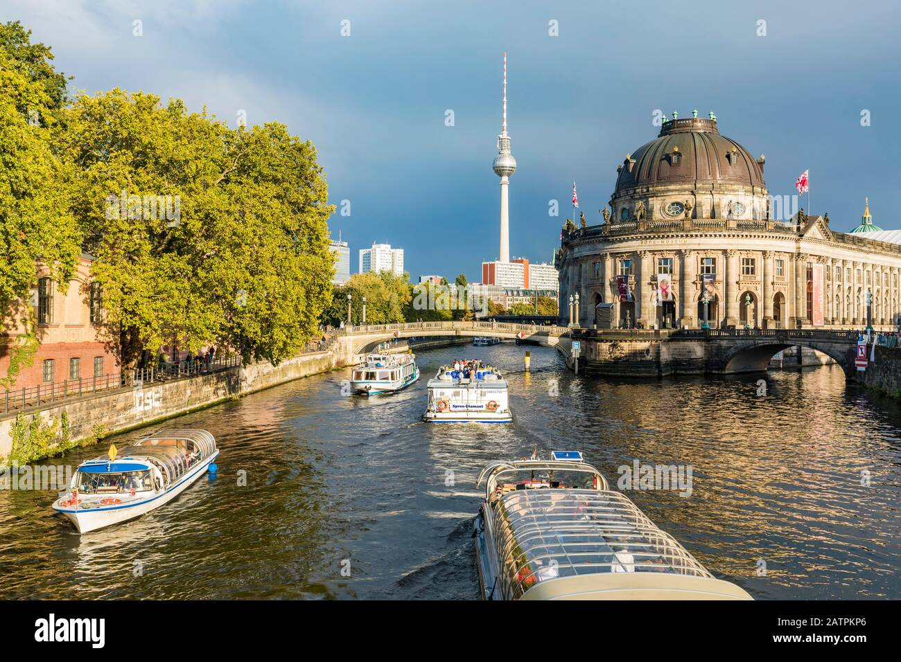 Museum Island, Bode Museum, Spree, excursion boats, television tower, UNESCO World Heritage Site, Berlin-Mitte, Berlin, Germany Stock Photo