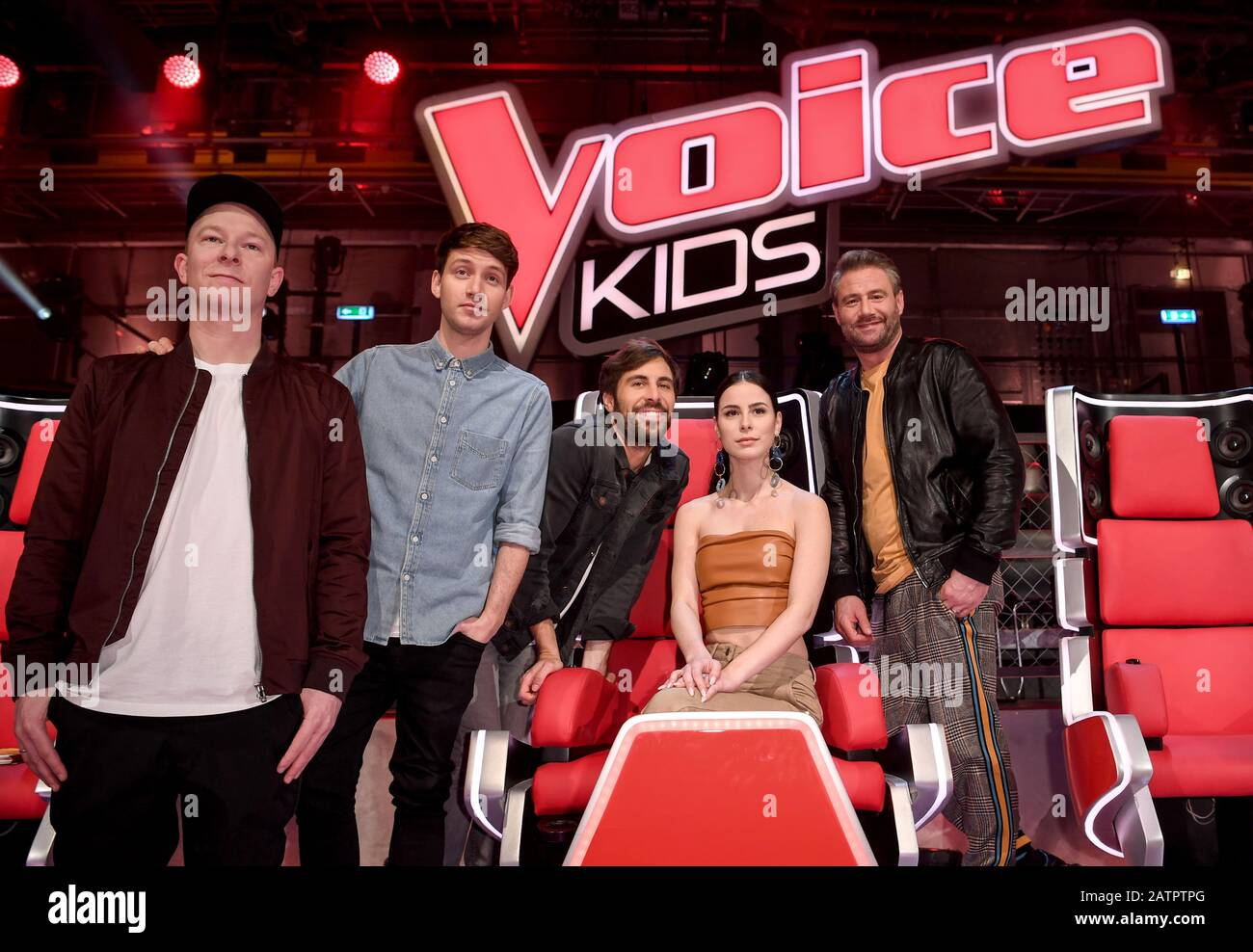 Berlin Germany 04th Feb 2020 The Coaches Florian Sump And Lukas Nimscheck Of The Band Deine Freunde Lena Meyer Landrut Max Giesinger And Sasha L R On The Sidelines Of The Show The Voice