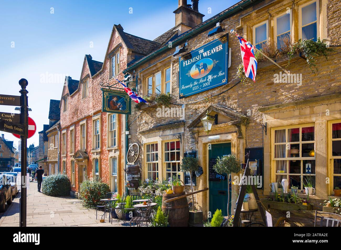 Fine old historic buildings includingThe Flemish Weaver dating from 18th century in Corsham town Wiltshire England UK Stock Photo