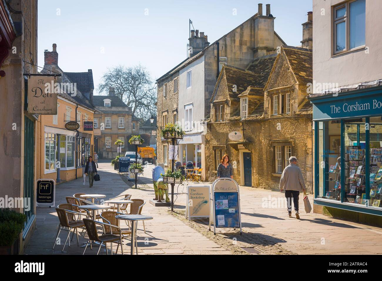 A quiet period in the High Street in Corsham town Wiltshire England UK Stock Photo