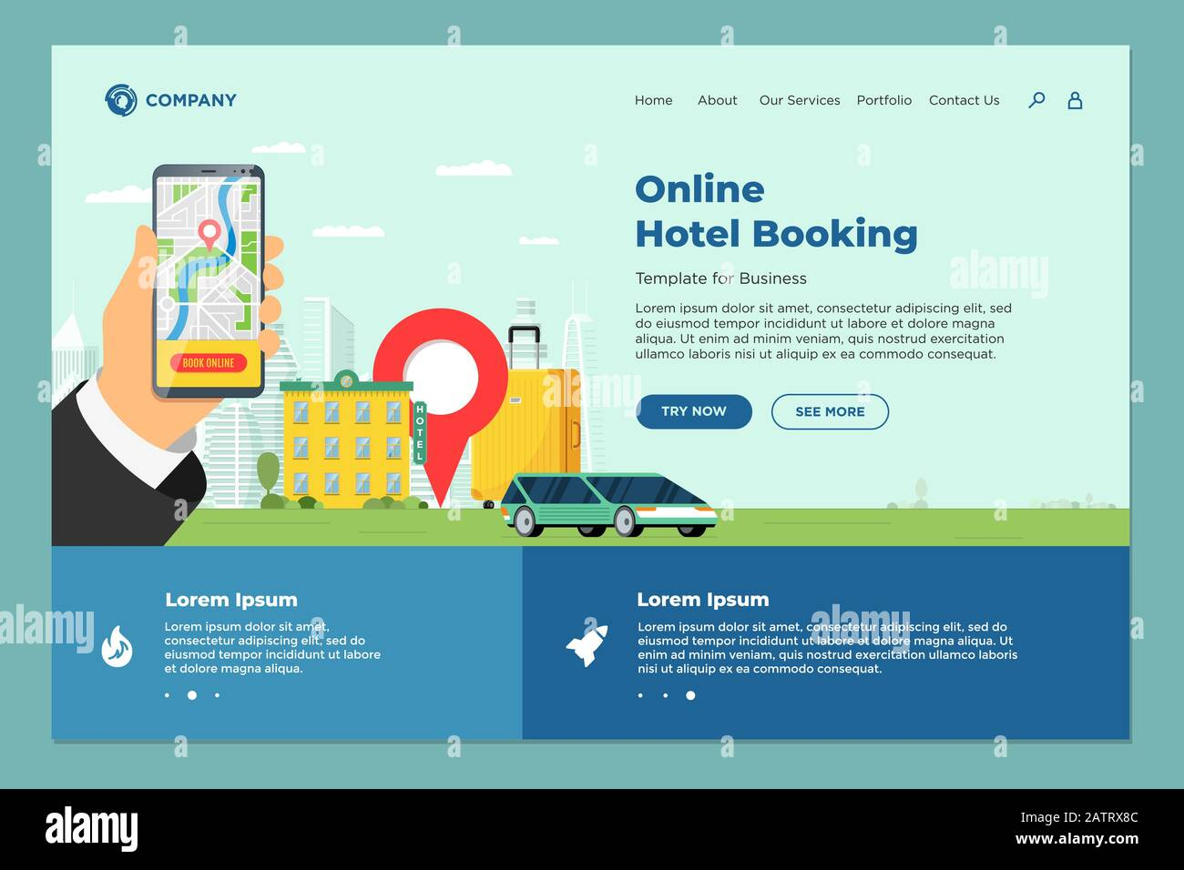 Hotel Online Booking Service For Vacation Tourism Landing Page Template Travel Apartment Transport Reservation Web Design Motel Suitcase And Locatio Stock Vector Image Art Alamy