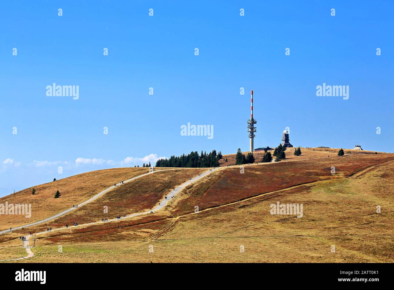 Feldberg Black Forest / Germany - 09 22 2018: Feldberg is a mountain peak in the Black Forest with TV tower. Stock Photo