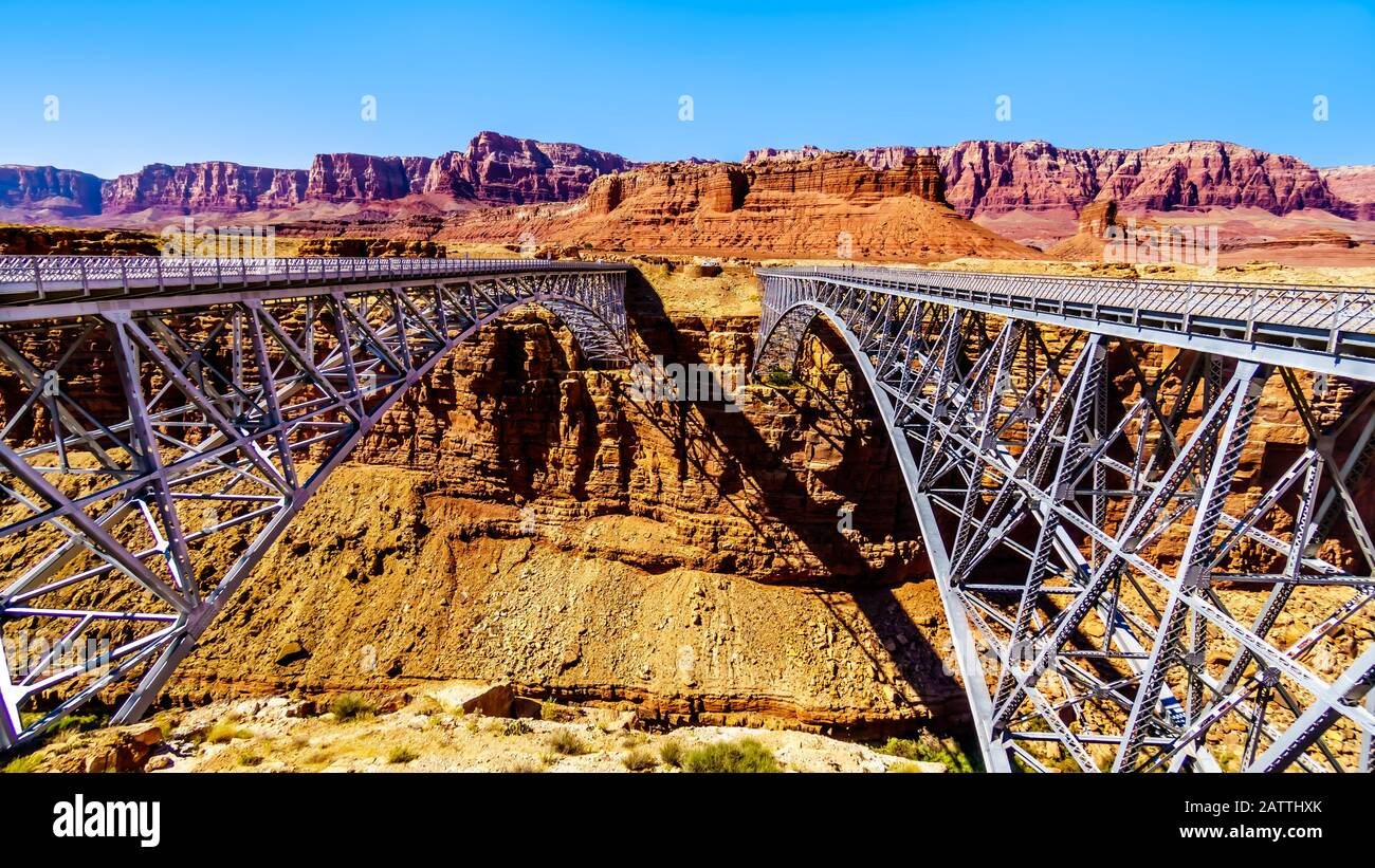 Old and New Navajo Bridge of U.S. Highway 89 A, over the Colorado River at Marble Canyon in Glen Canyon National Recreation Area, near Page, Arizona Stock Photo