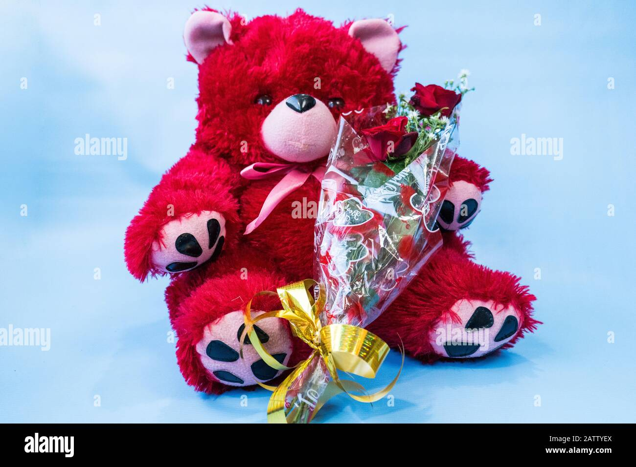"7"" TEDDY BEAR  WHITE TE AMOWith Clear box /&RoseREADY"