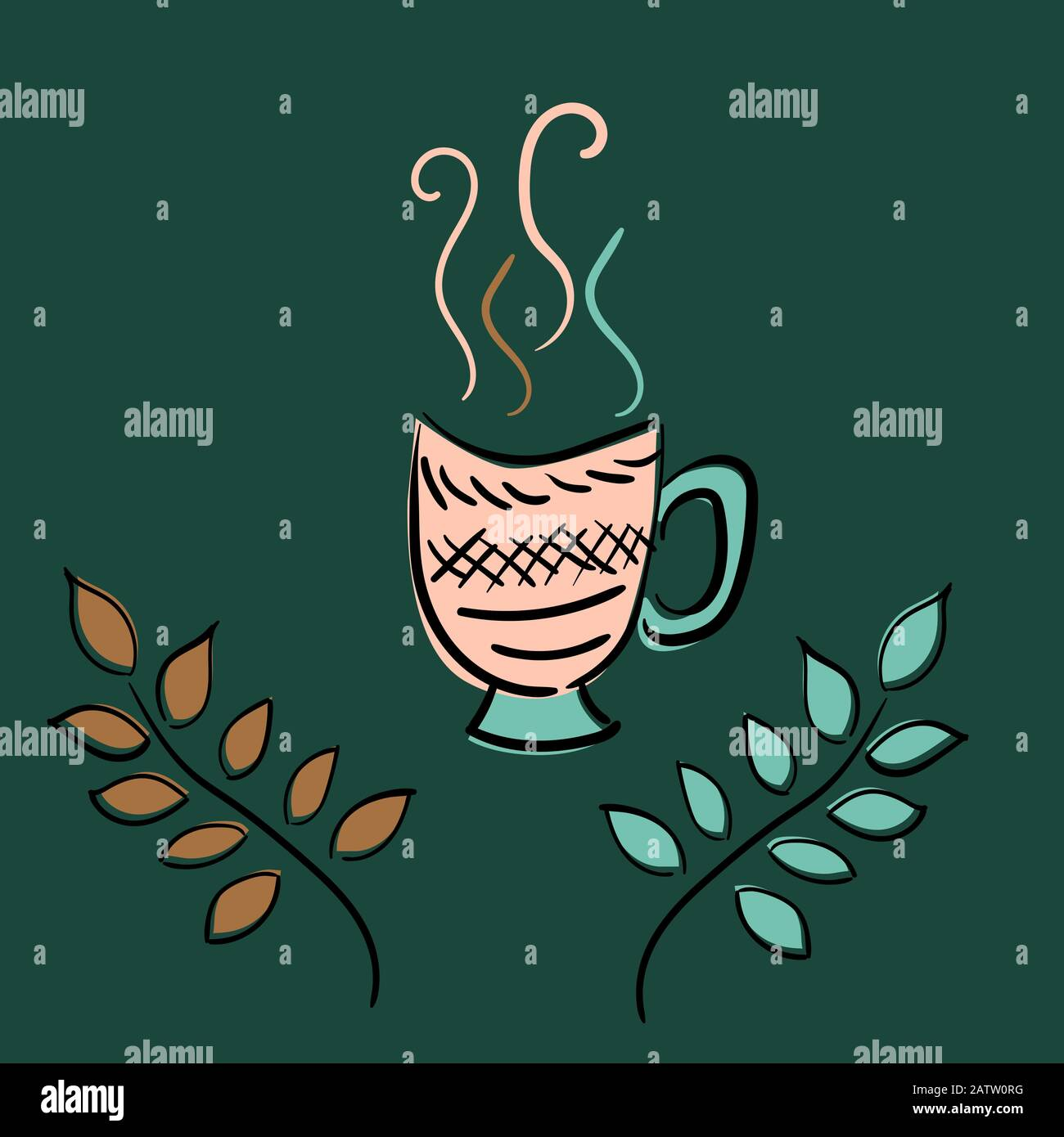 a cup of tea coffee and plant branches vector sketch illustration limited color palette stock vector image art alamy alamy