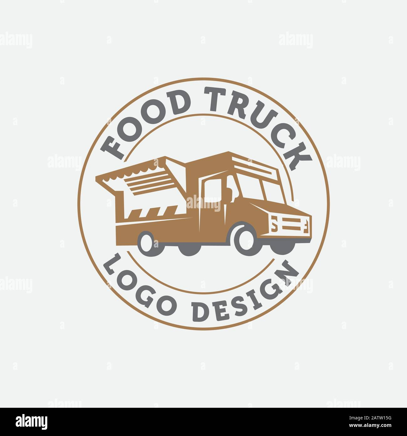 Foodstuffs white background Vintage kitchen print element with fork and knife, text and truck on grunge spot,Eps 10 Stock Vector