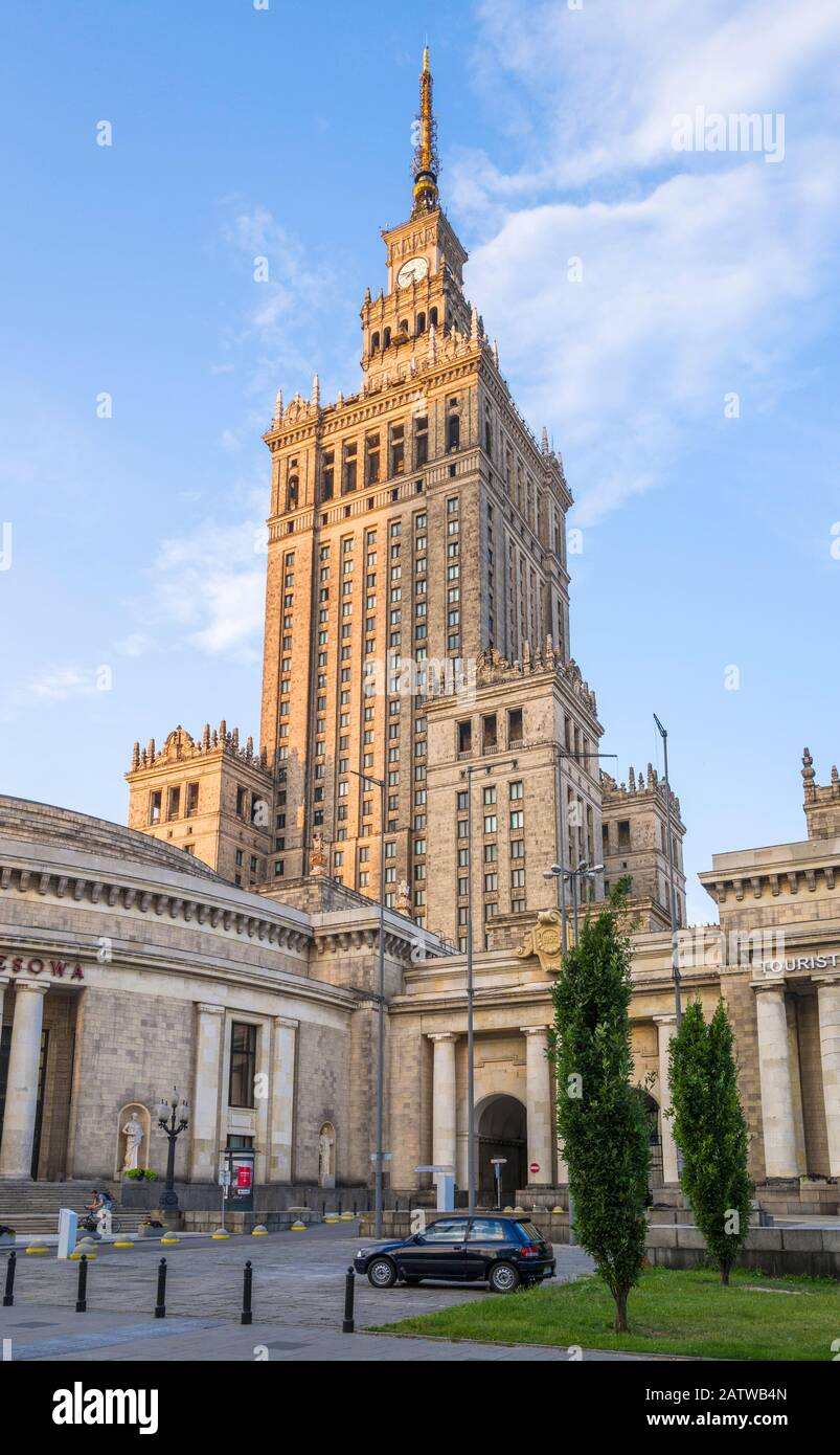 The Palace of Culture and Science (1955) is a Soviet designed skyscraper in central Warsaw, Poland. Stock Photo