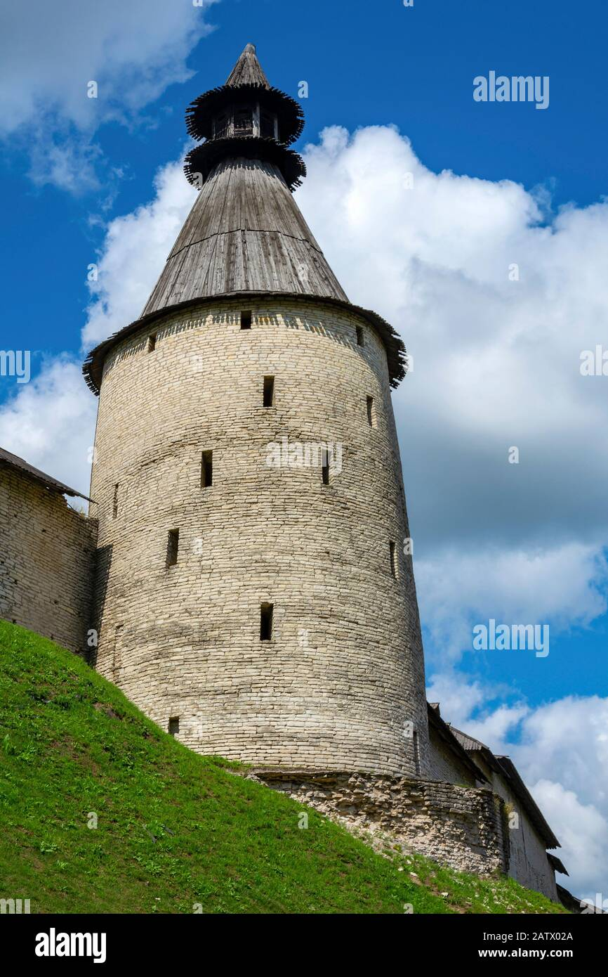 Pskov, the Middle tower of the Pskov Kremlin, a historical place Stock Photo