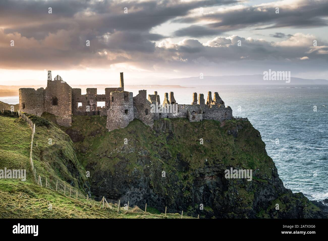 Dunluce Castle high up on a seacliff on the North Antrim coast in Northern Ireland Stock Photo