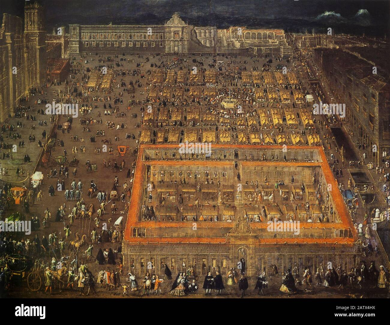View of the Plaza Mayor of Mexico city 1695, painted by Cristobal de Villapando. James Methuen Campbell Collection Stock Photo