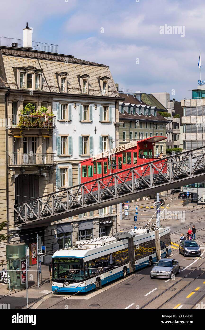 Central Platz, Polybahn, funicular railway, bus, transport, Zurich, Canton Zurich, Switzerland Stock Photo