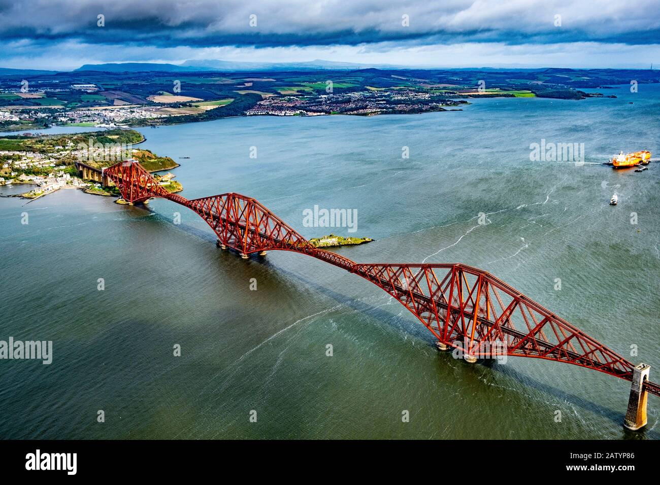 Aerial view of Forth Bridge Stock Photo