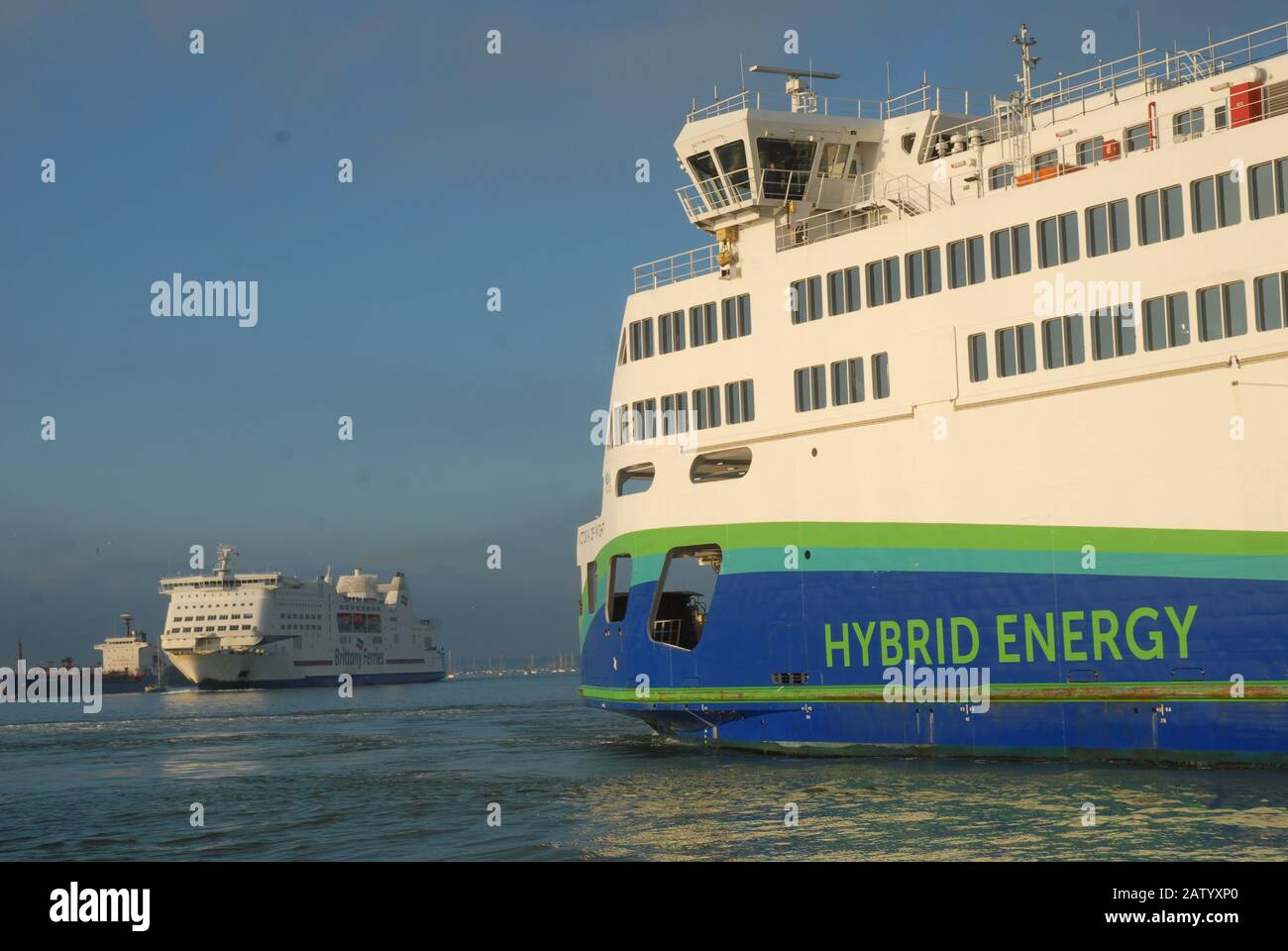 Isle of Wight Car Ferry 'Victoria Of Wight' entering Portsmouth Harbour, Portsmouth, Hampshire, England, UK. Stock Photo