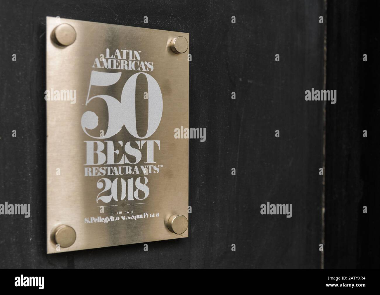 Buenos Aires, Argentina - May 26, 2019: Saint Pellegrino top 50 best restaurants Stock Photo