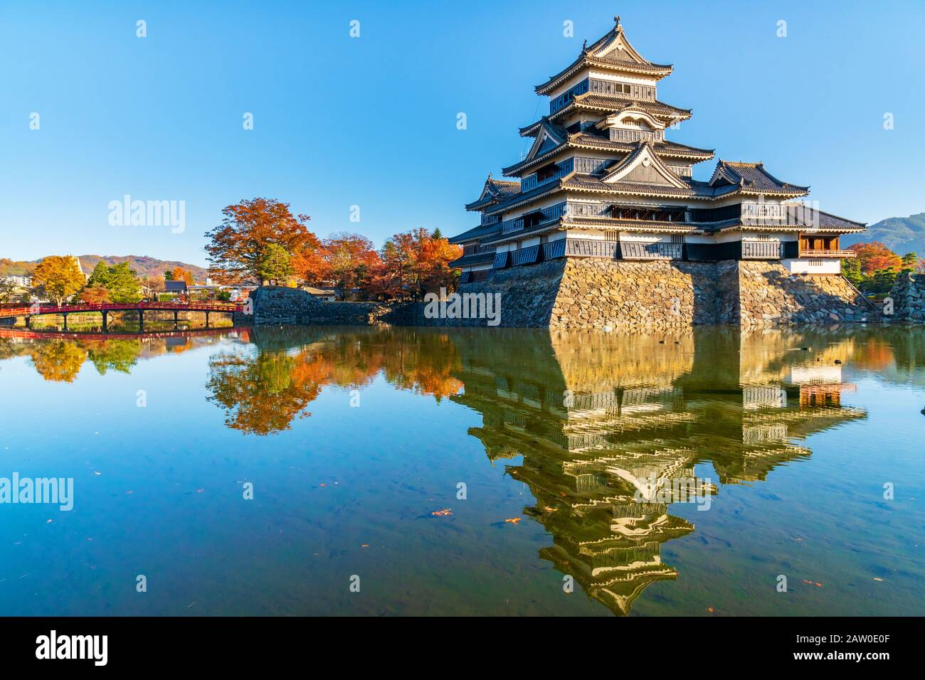 Beautiful Autumn of Matsumo Castle,Nagano,Japan Stock Photo