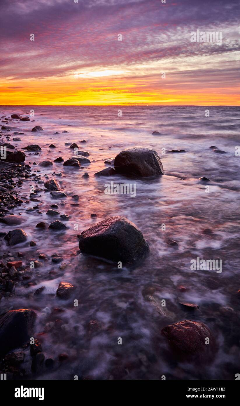 Purple Sunset Over Beautiful Beach In Wolin National Park Poland Stock Photo Alamy