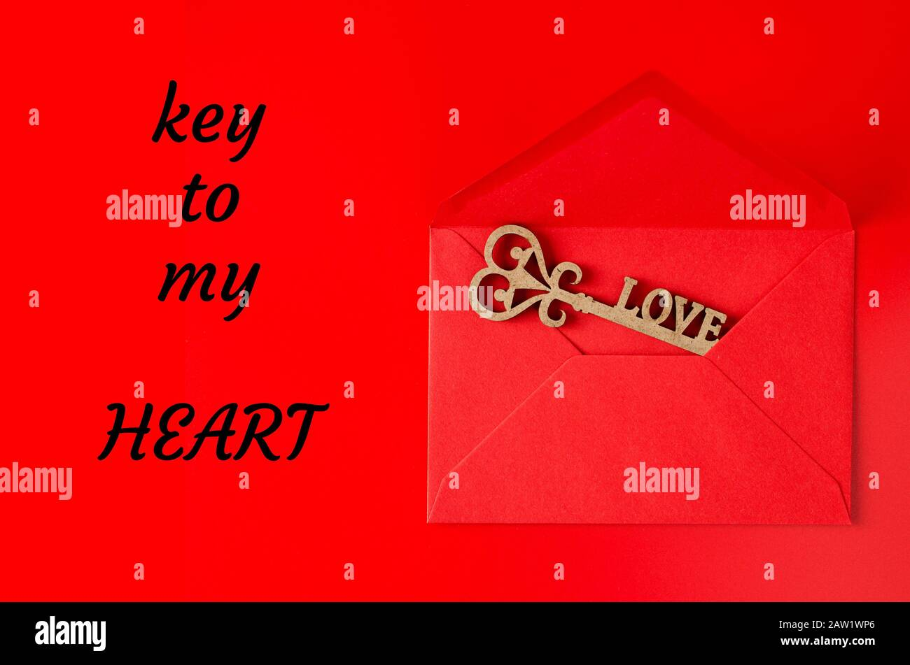 Key To My Heart Key With Heart In Open Gift Envelope Symbol Of