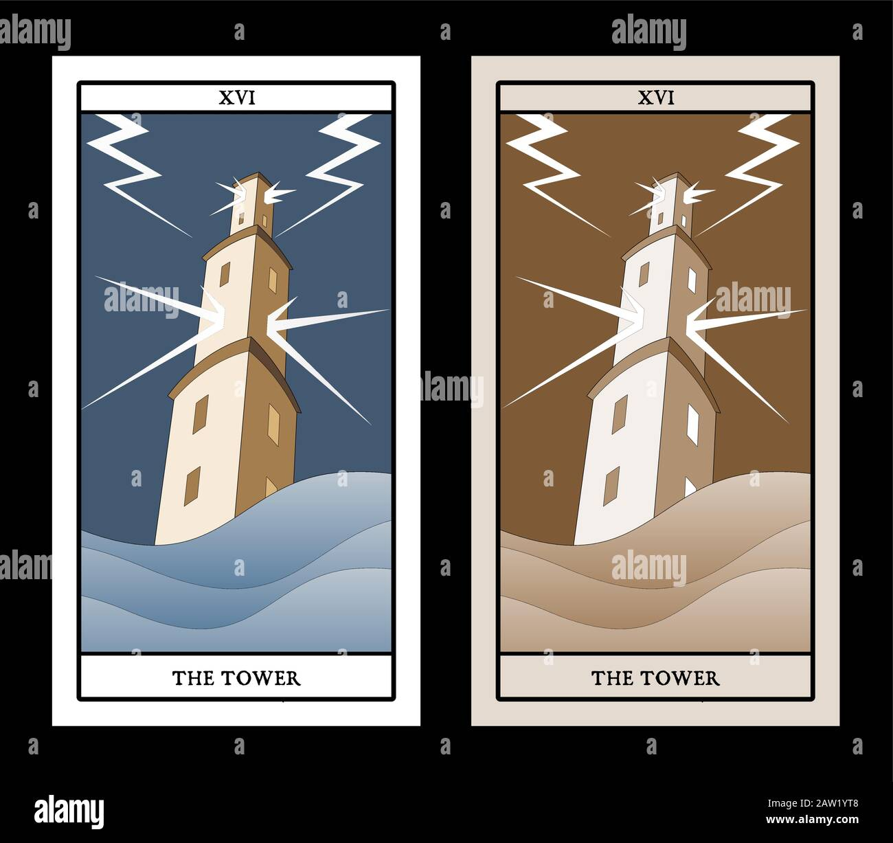 Major Arcana Tarot Cards. The Tower. Large tower over raging sea, under the storm and hurt by lightning Stock Vector