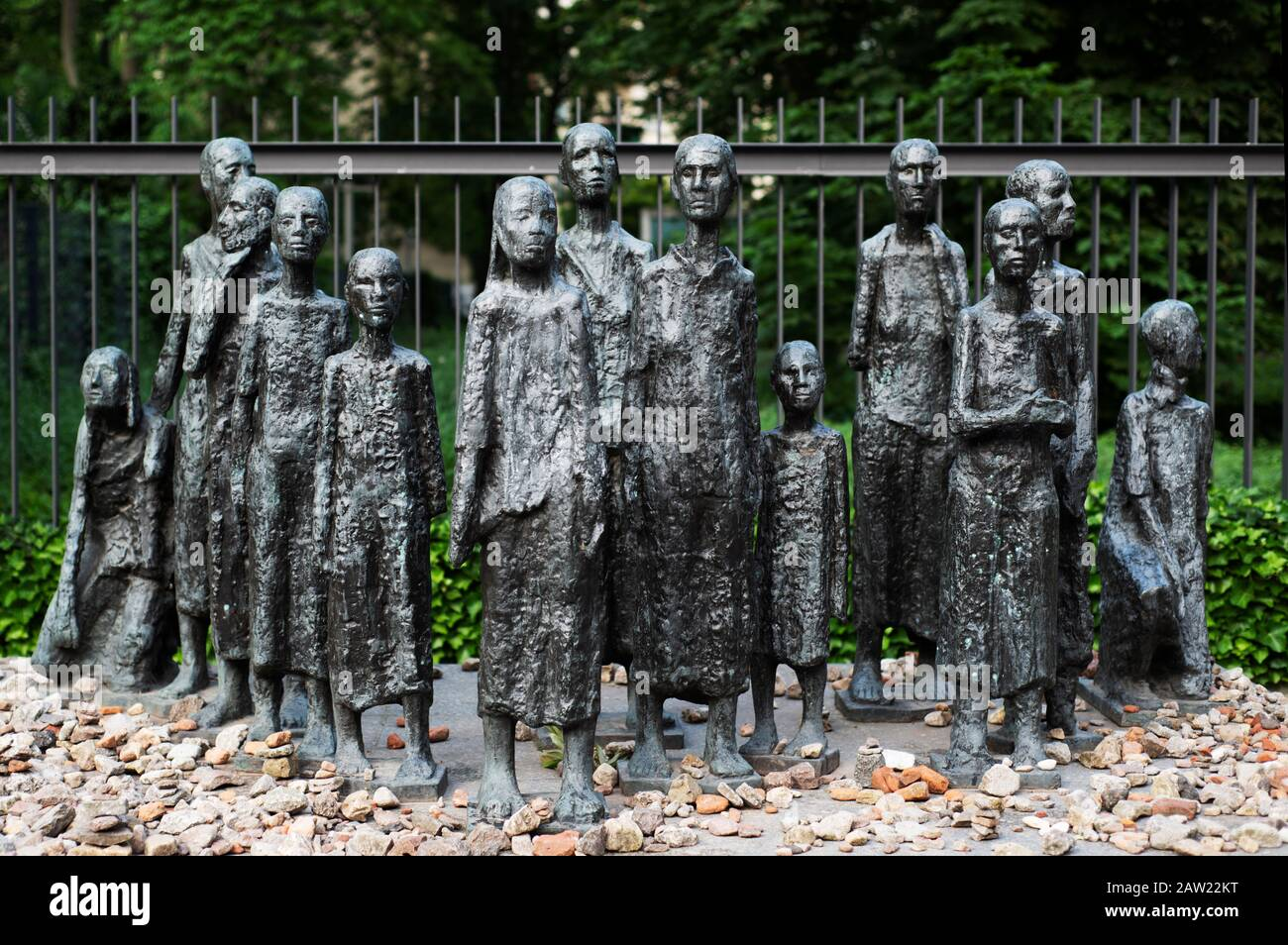 BERLIN, GERMANY - MAY 27, 2018: A view of the sculptural group Judische Opfer des Faschismus, at the Memorial Jewish Cemetery in Berlin, Germany, as a Stock Photo