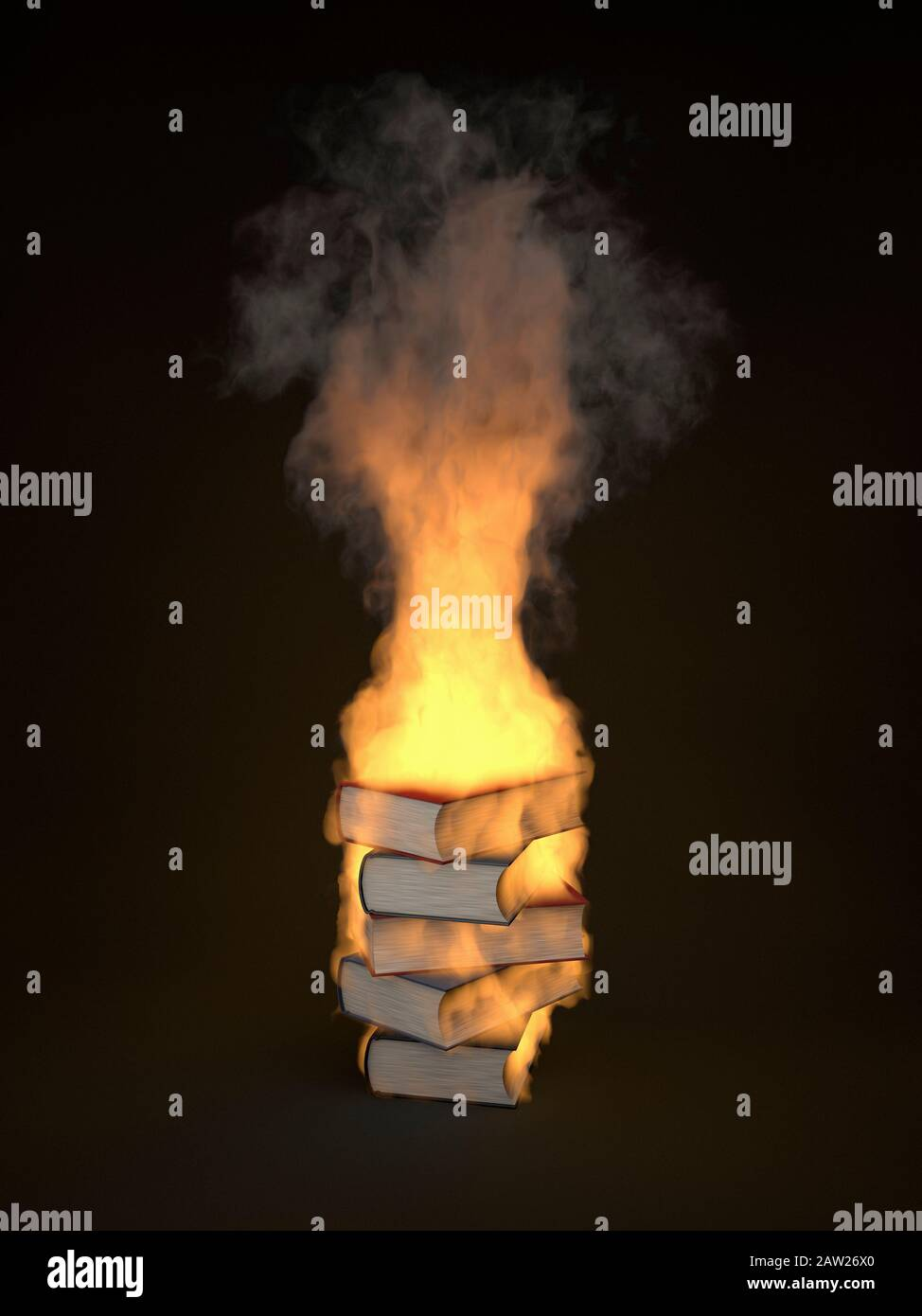Pile of books burning, engulfed in flames Stock Photo