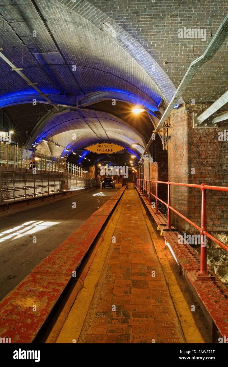 UK,West Yorkshire,Leeds,Granary Wharf,The Dark Arches tunnel complex underneath Leeds Railway Station. Stock Photo