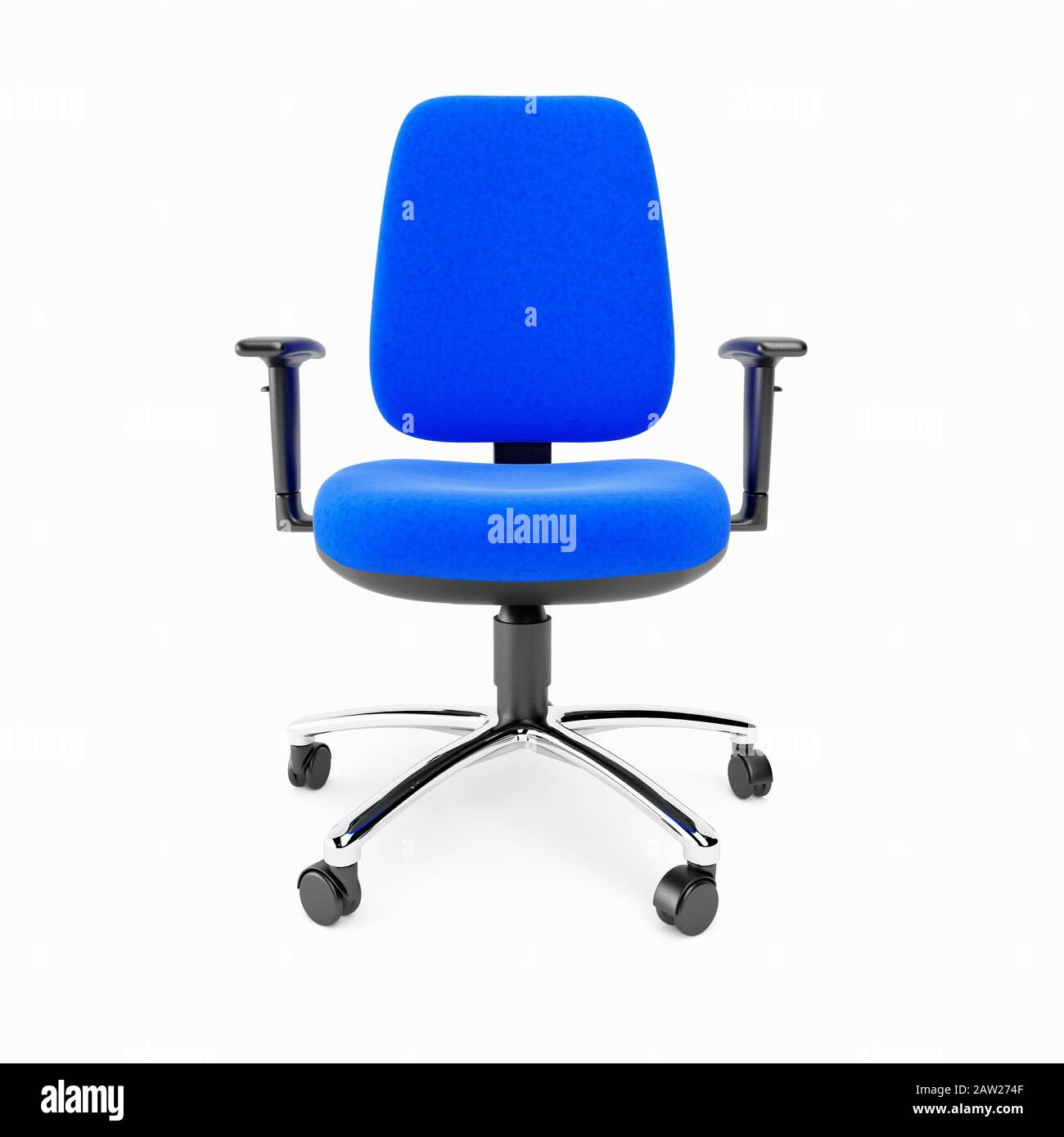 Picture of: A Blue Basic Office Chair On A White Background Stock Photo Alamy