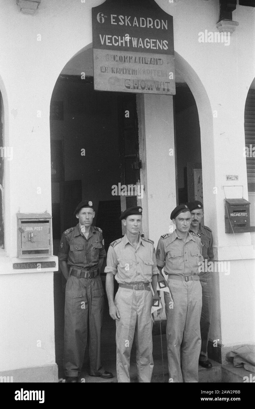 command transfer 2nd Squadron Vechtwagens to the 6th Squadron Vechtwagens to Poerwokerto  Poerwokerto Date: May 5, 1948 Location: Indonesia, Java, Dutch East Indies, Poerwokerto Stock Photo