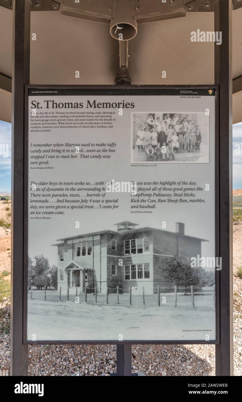 Display of historic photo of school in St Thomas, ghost town submerged under Lake Mead for many years, now exposed due to low water level, Nevada, USA Stock Photo