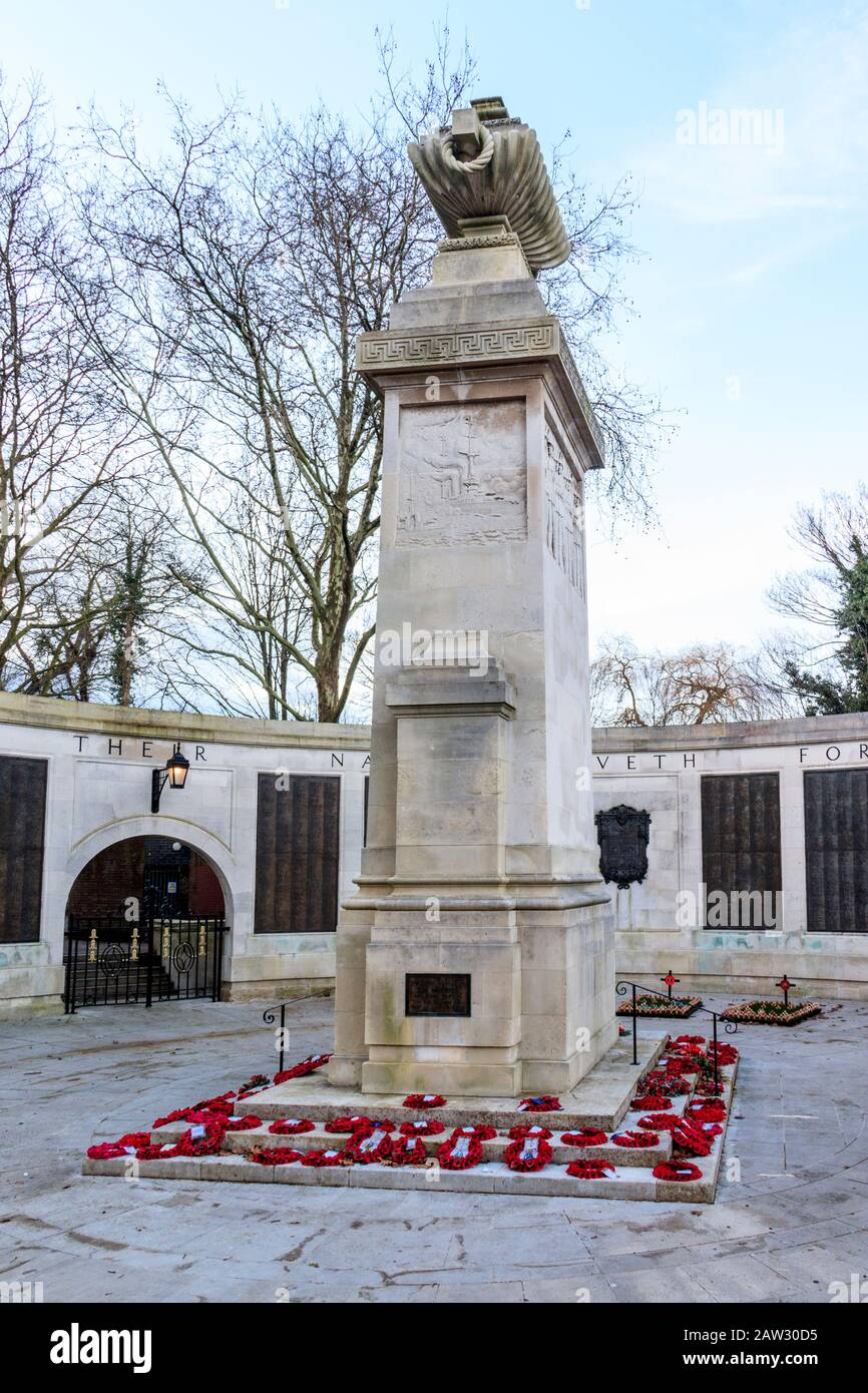 Portsmouth Cenotaph, a world-war one memorial in the town centre, Portsmouth, England, UK. Stock Photo