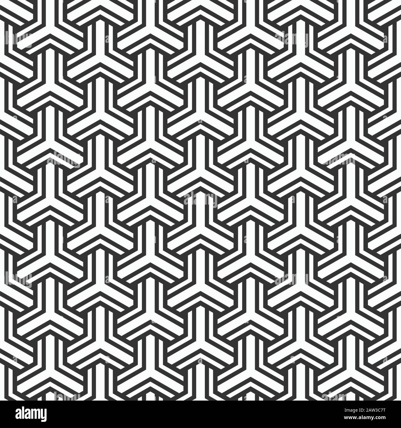 Abstract seamless pattern. Modern stylish texture. Striped bold geometric tiles with triple weaving elements. Vector monochrome background. Stock Vector