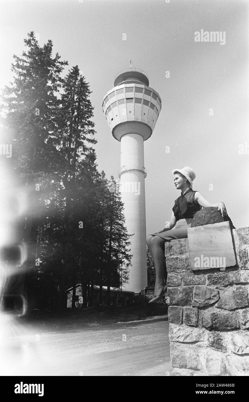 Finland  Puijo panorama tower with revolving restaurant in Kuopio Date: July 5, 1967 Location: Finland Keywords: panoramas, restaurants, towers Person Name: Finland, Kuopio Stock Photo