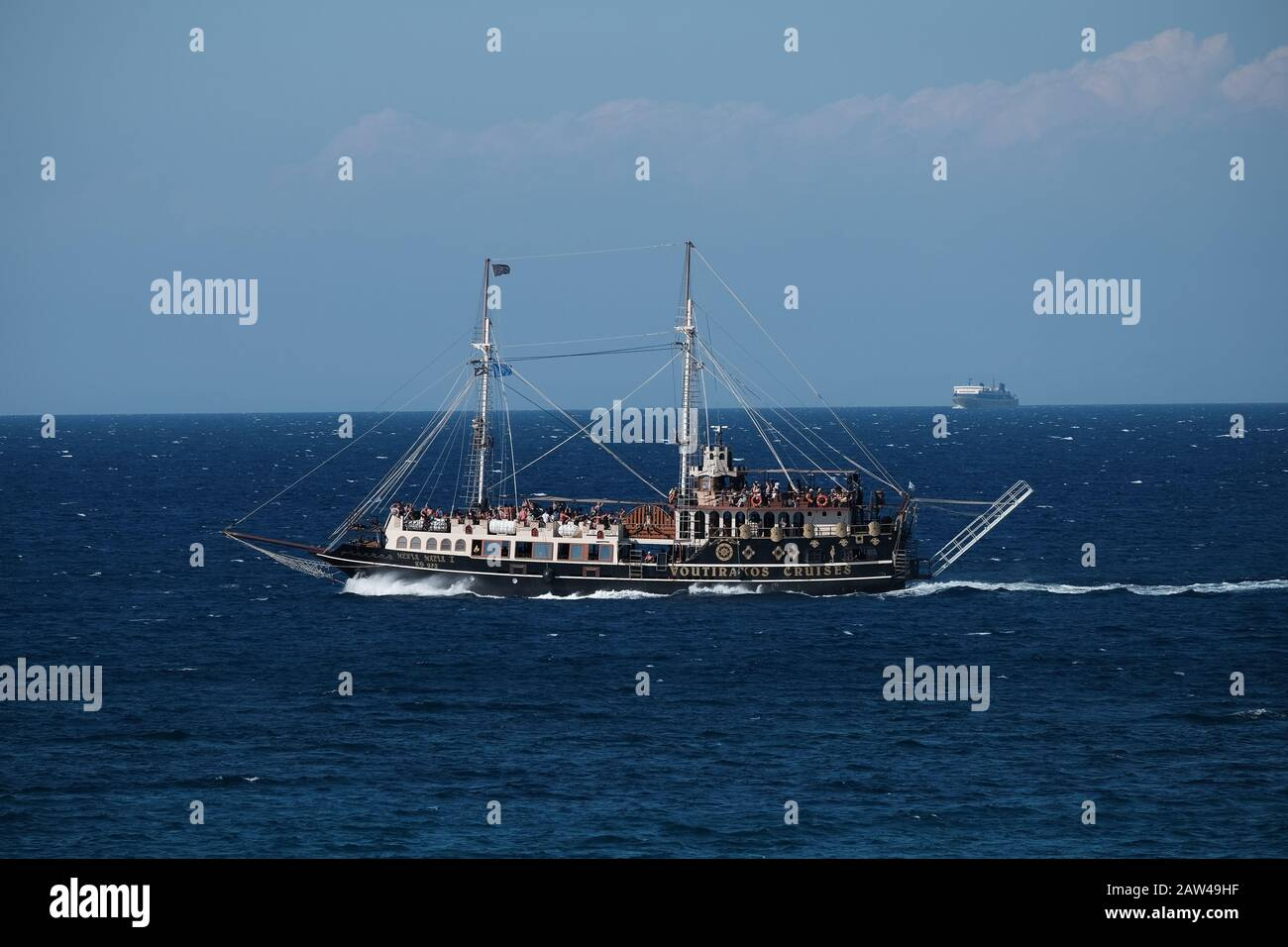 Voutirakos Cruises galleon themed pirate ship in the sea of Zakinthos Greece taking tourists on tours of the island. Stock Photo