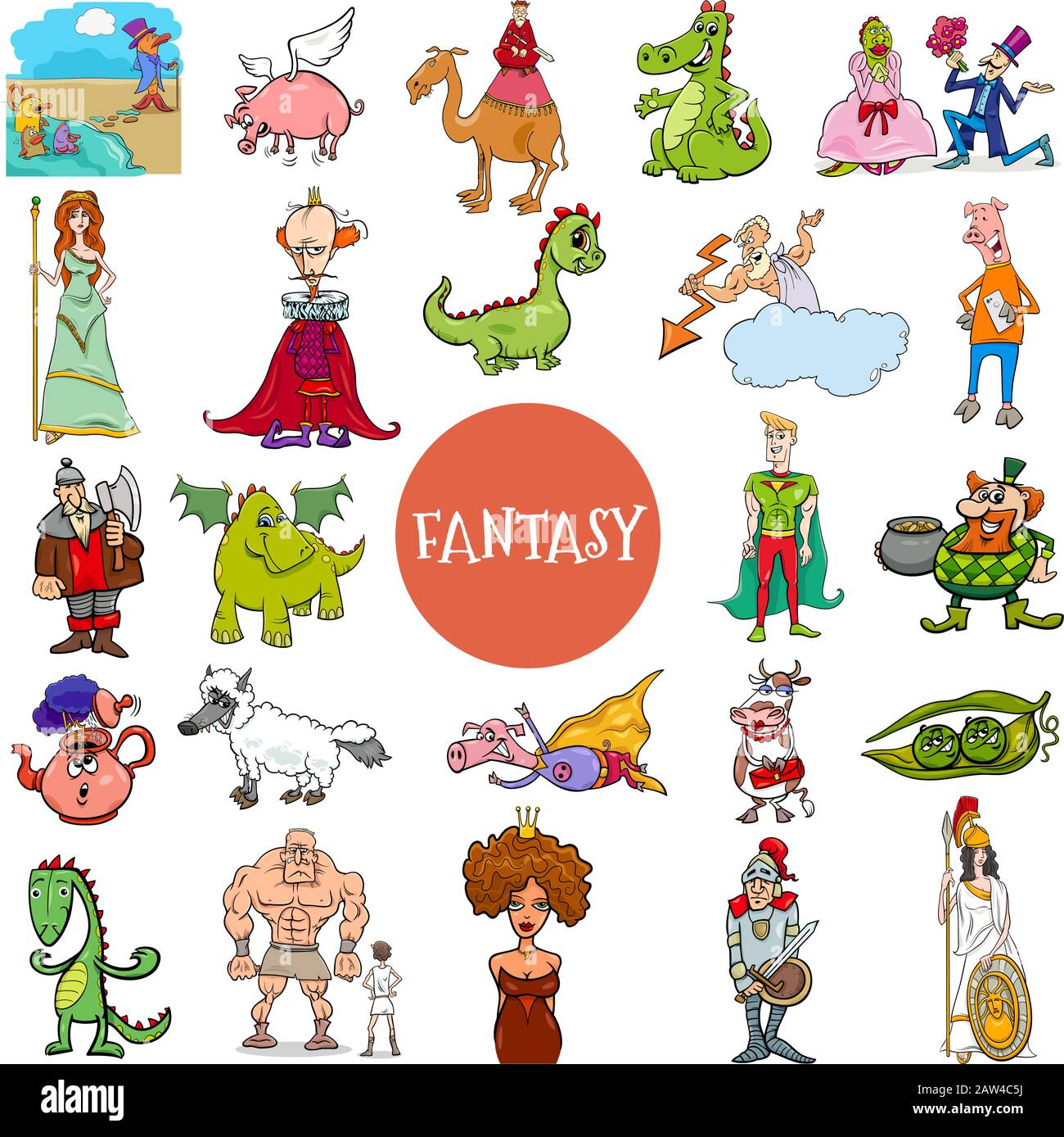 Cartoon Illustration of Fantasy or Fairy Tale Comic Characters Large Set Stock Vector