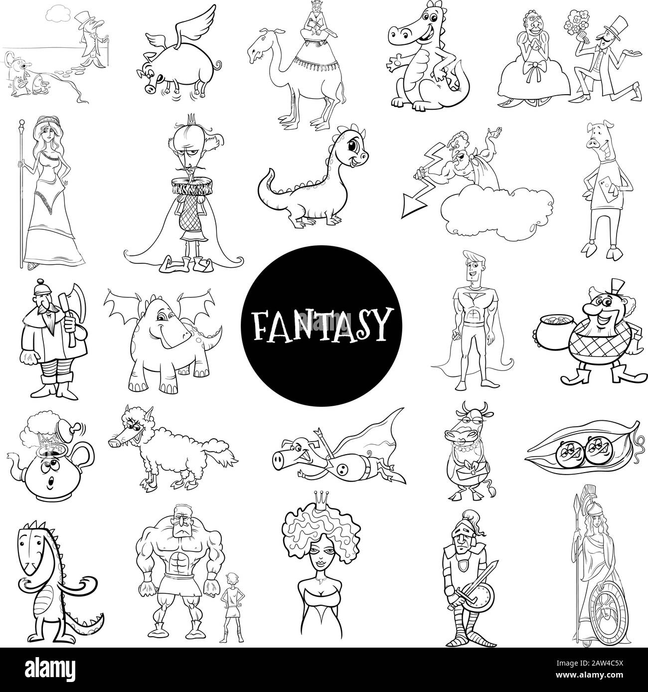 Black and White Cartoon Illustration of Fantasy or Fairy Tale Comic Characters Large Set Coloring Book Page Stock Vector
