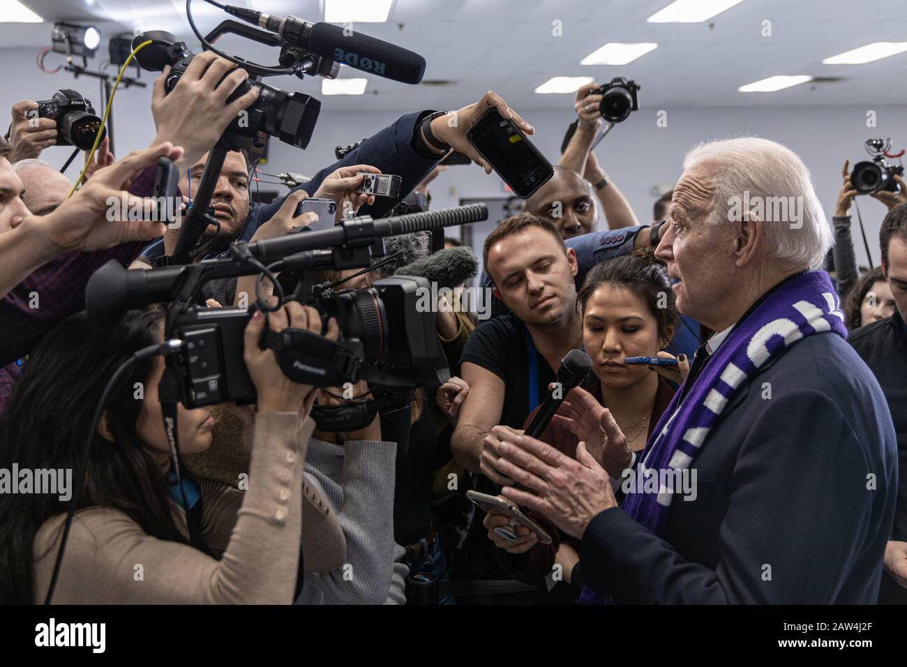 February 4, 2020, Concord, New Hampshire: Democratic candidate Joe Biden is talking to the media after his speech at The International Brotherhood of Stock Photo