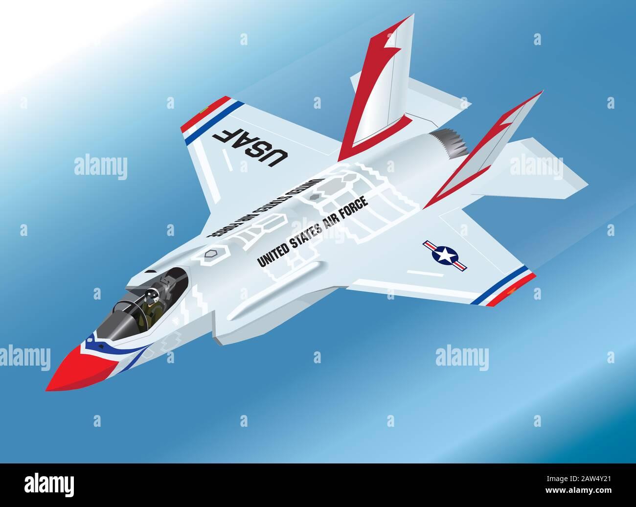 Detailed Isometric Vector Illustration of an airborne F-35 Lightning II Fighter Jet in Thunderbirds Aerobatic Team Paint Scheme Stock Vector