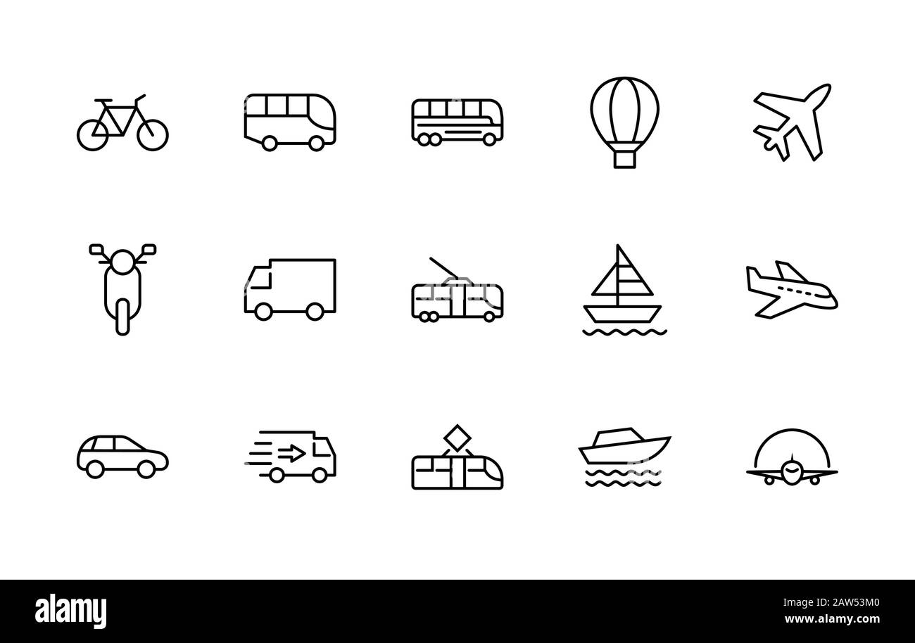 Set of Public Transport Related Vector Line Icons. Contains such Icons as Bus, Bike, Scooter, Car, balloon, Truck, Tram, Trolley, Sailboat, powerboat Stock Vector