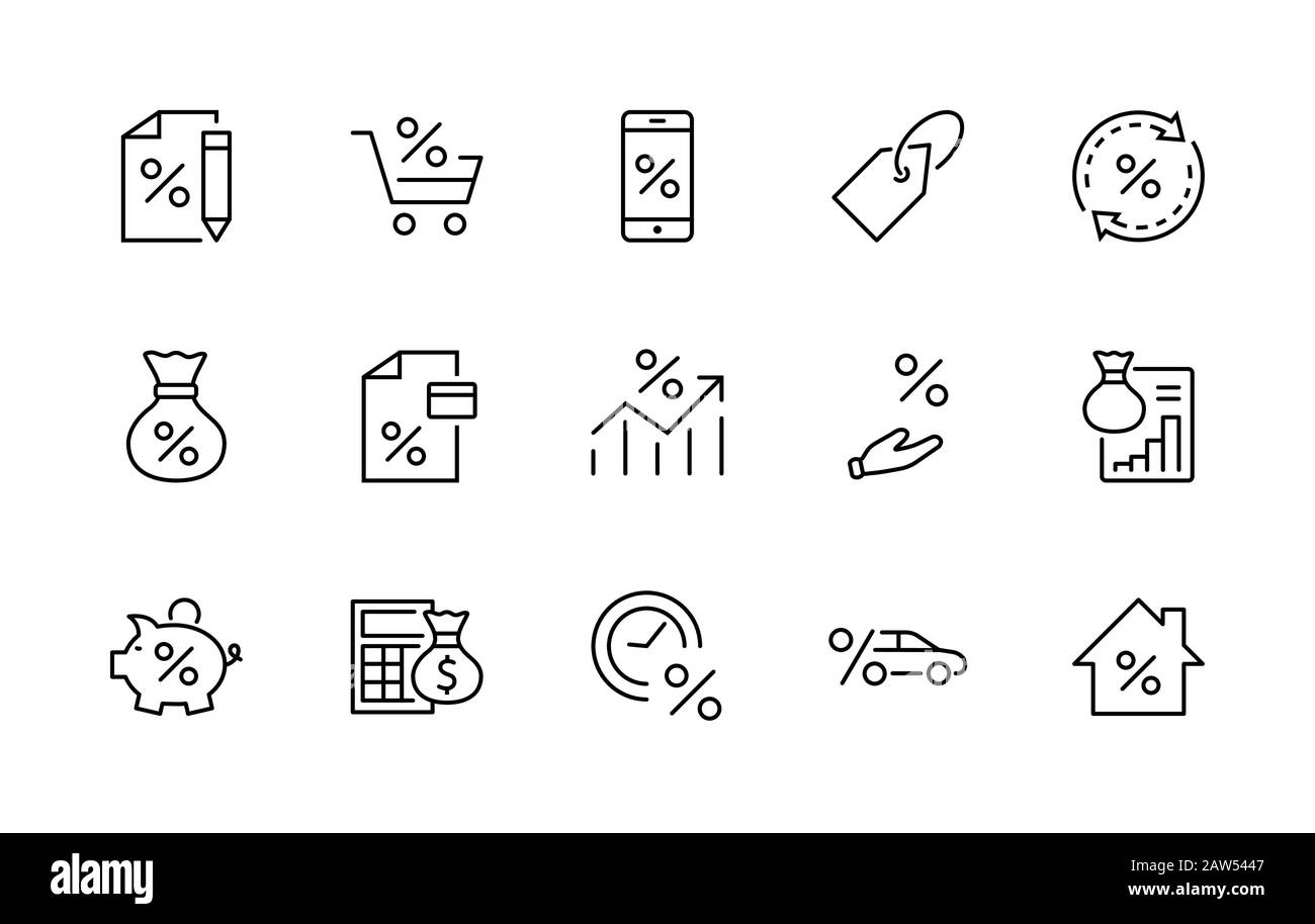 Set of Credit and Loan Related Vector Line Icons. Contains such Icons as Credit Card, Rate Calculator, Deposit and more. Editable Stroke. 32x32 Pixels Stock Vector