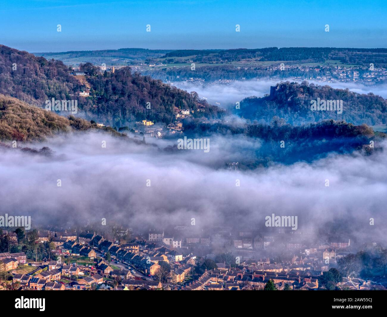 UK Weather: beautiful cloud inversion over Matlock Bath morning shot from Black Rocks Derbyshire HDR Derbyshire Dales, Peak District National Park Stock Photo