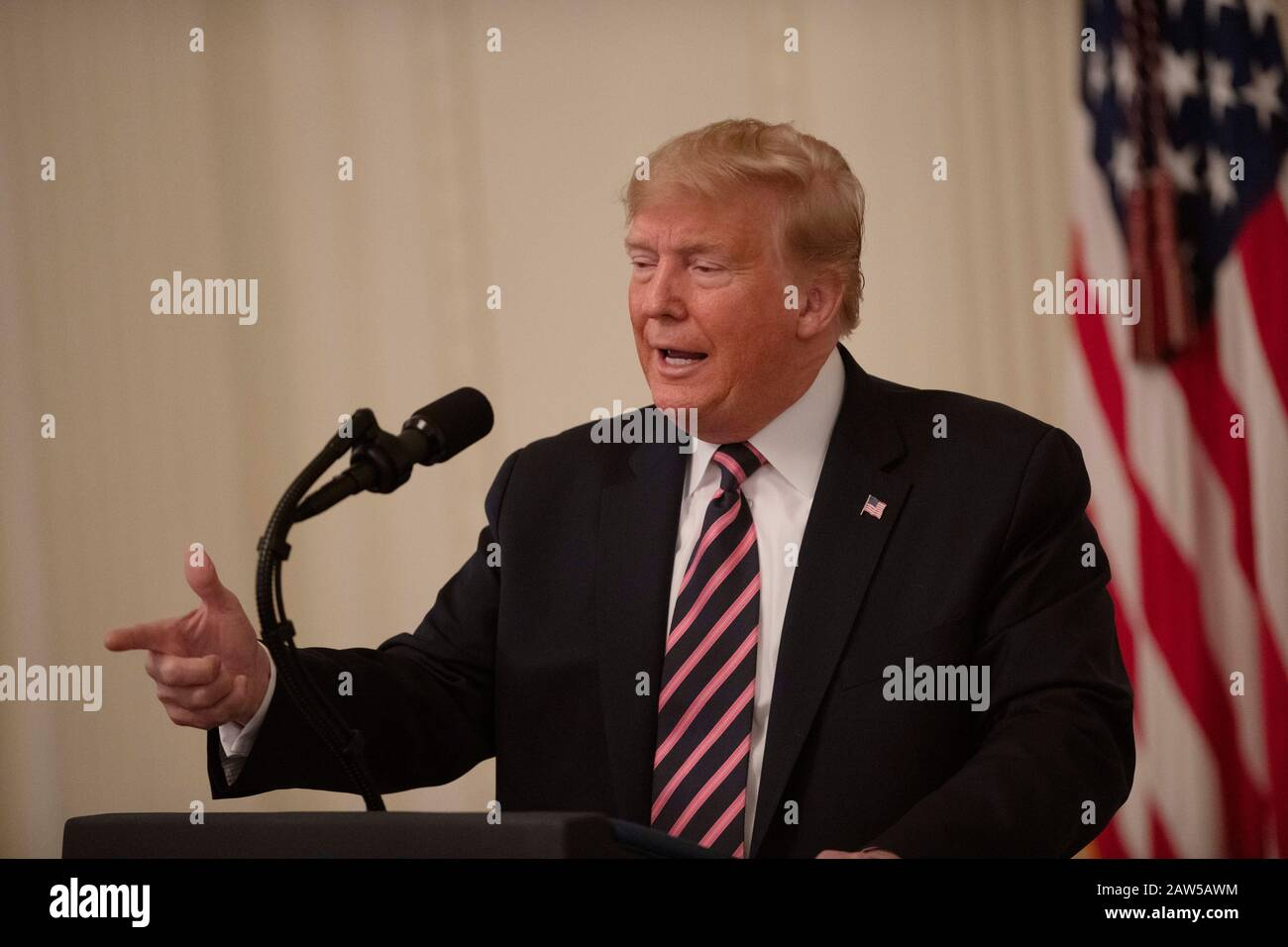 Washington, USA. 6th Feb, 2020. U.S. President Donald Trump makes a statement about his acquittal at the White House in Washington, DC, the United States, on Feb. 6, 2020. Donald Trump took a victory lap Thursday, a day after a divided Senate voted to acquit him on impeachment charges. Credit: Liu Jie/Xinhua/Alamy Live News Stock Photo