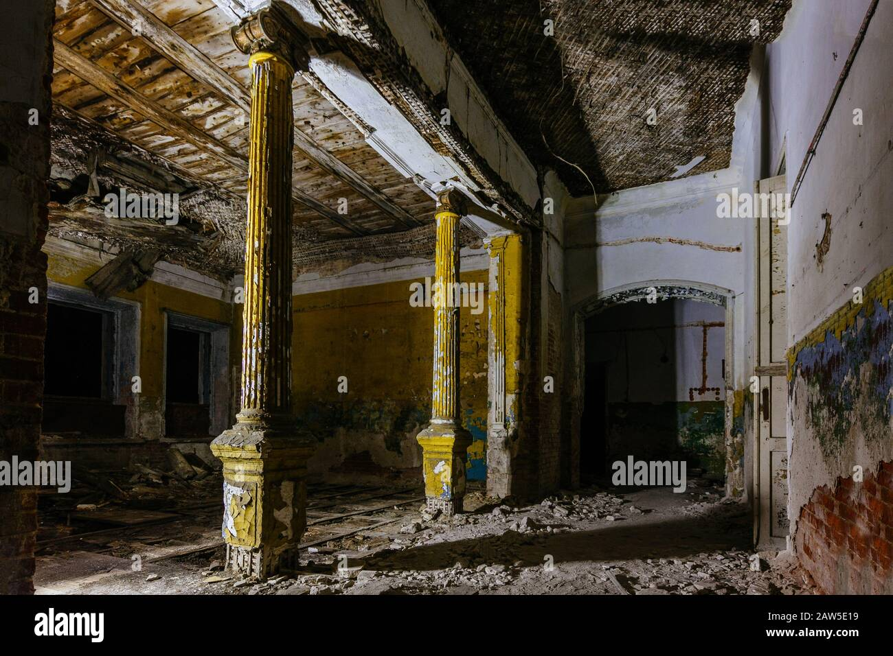 Dark And Creepy Old Abandoned Mansion Interior Former Karl Von Meck House Stock Photo Alamy