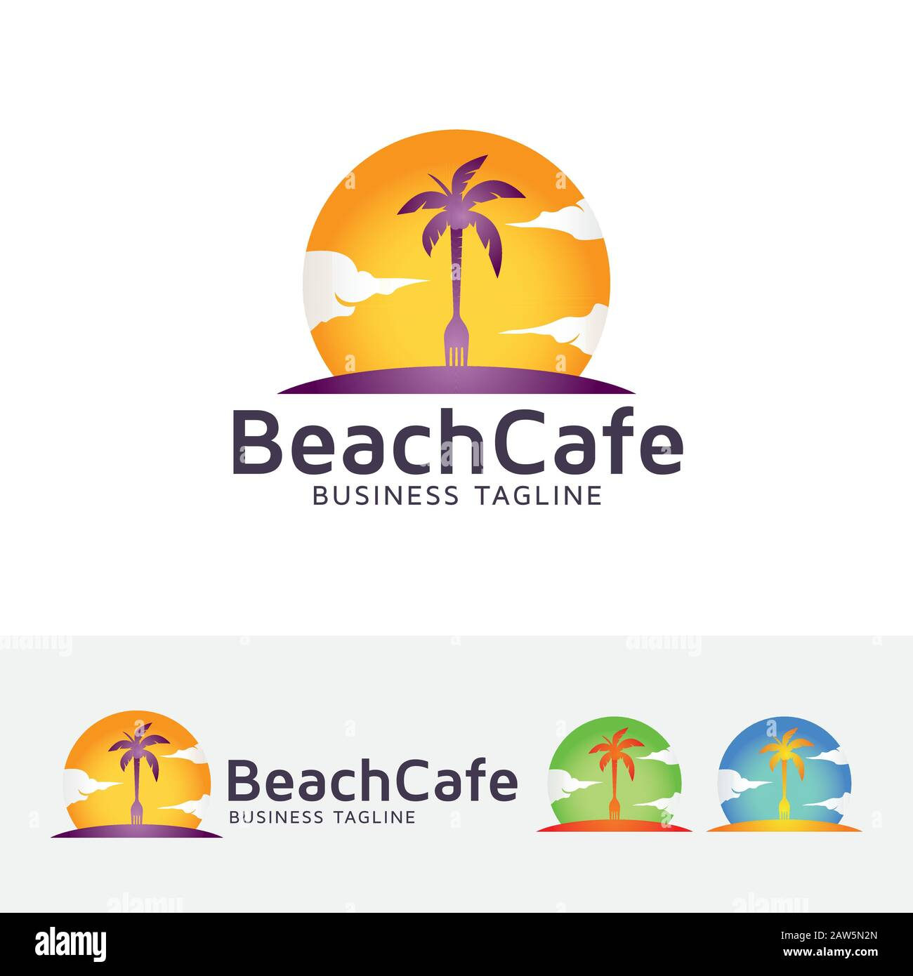 Creative Beach Logo Design Resort And Restaurant Logo Template Stock Vector Image Art Alamy