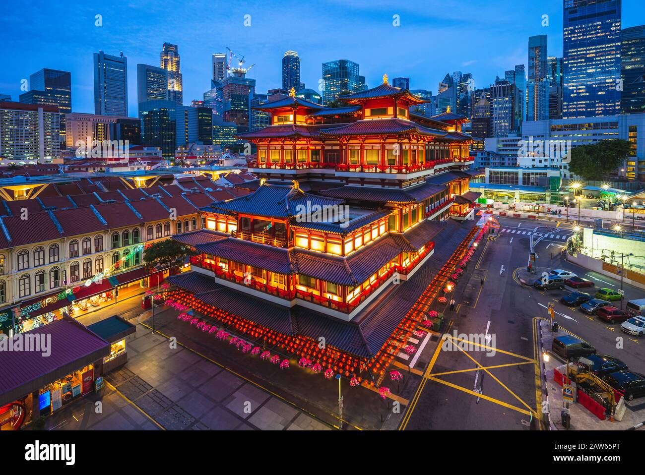 buddha tooth temple in chinatown, singapore Stock Photo
