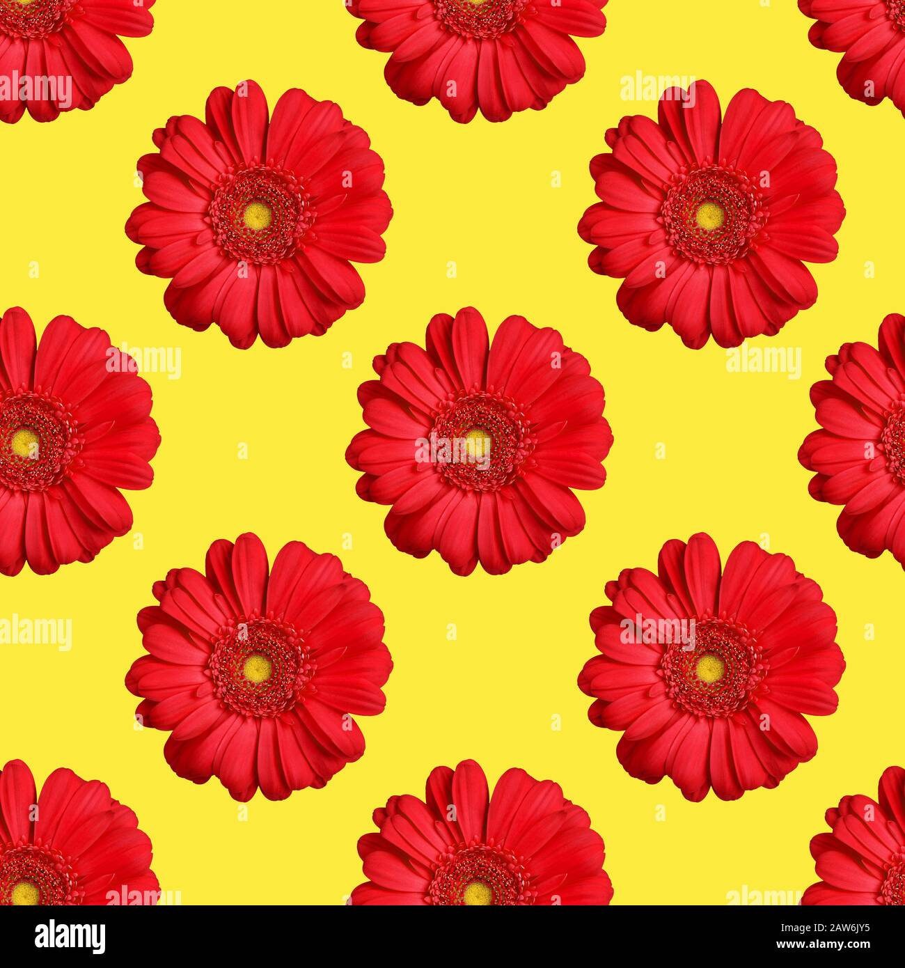 Seamless Pattern Of Red Gerbera Flowers On Yellow Background